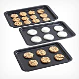 VonShef New Set of 3 Non Stick Baking Roasting Carbon Steel Oven Trays - New Sizes