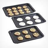 VonShef Oven Trays - Set of 3 Non Stick Baking Roasting Carbon Steel