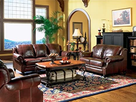 Amazon.com: Princeton Tri-Tone Burgundy Leather Sofa Set ...