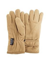 FLOSO Girls Childrens/Kids Plain Thermal Thinsulate Fleece Gloves (3M 40g) (9-12 years) (Beige)