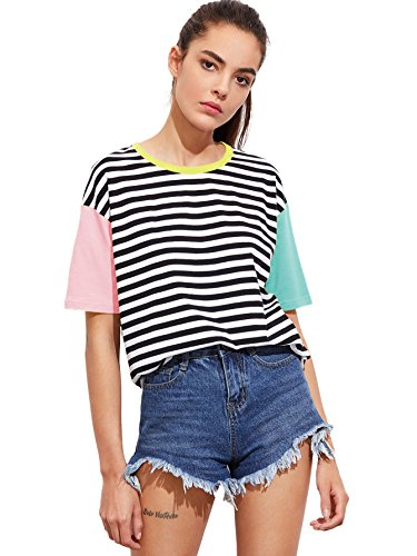 - Romwe Women's Contrast Neck and Sleeve Striped Tee Multicolored S
