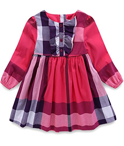 Red 3t 4t Dresses for Girls Special Occasion Party Birthday Toddler Little Girls Autumn Plaid Dresses Size 3T