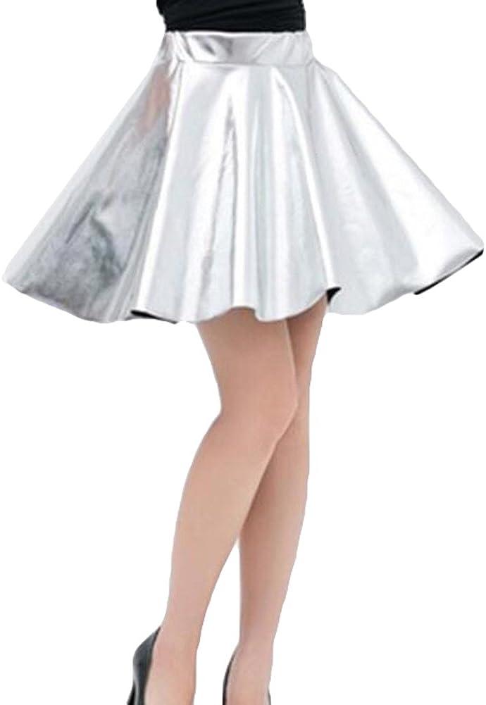 kunfang Falda para Mujer Cintura Alta Faldas de PU Falda Ocio Falda de Cuero de Imitación Metálicas Brillantes Falda de Animadora Falda Acampanada