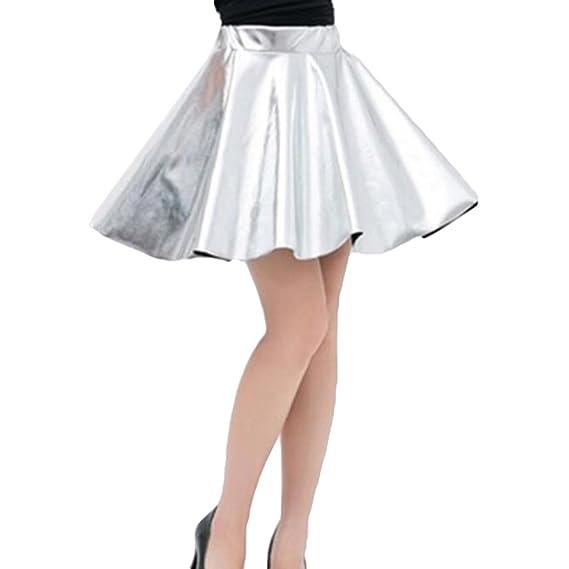 Zhien Faldas para Mujer Brillante Metalizado Dancewear Cintura ...
