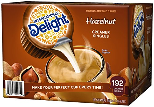 International Delight, Hazelnut, Single-Serve Coffee Creamers, 192 Count, Shelf Stable Non-Dairy Flavored Coffee Creamer, Great for Home Use, Offices, Parties or Group Events