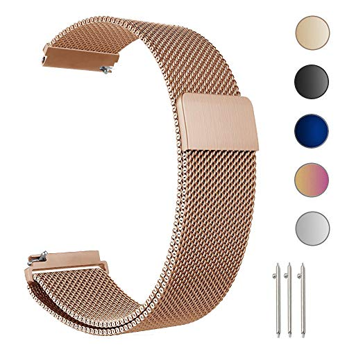 ZGS 18mm Smartwatch Band Replacement Strap Men & Women Milanese Loop Magnetic Clasp Mesh Stainless Steel Metal Bracelet Quick Release Watch Band (Rose Gold)