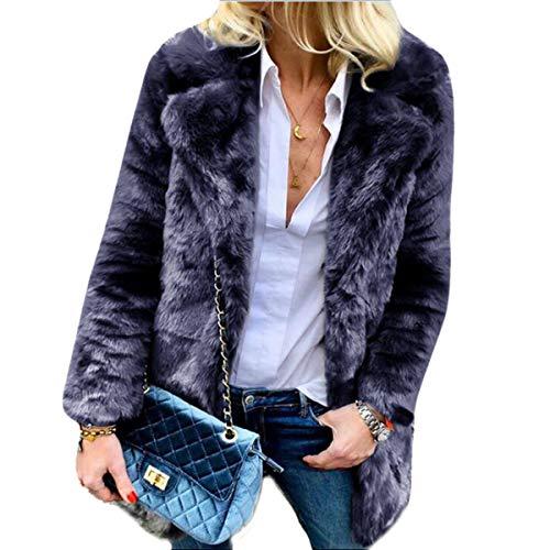 Manica Open Donna Cardigan Solid Deep Lunga Elegante Blue Risvolto Coat Up Teddy Inverno 8IqInH1r