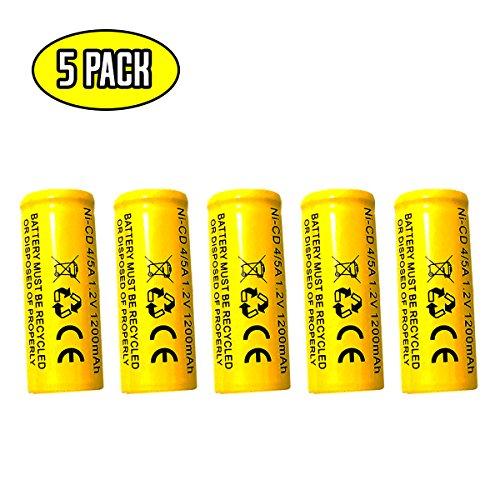 (5 pack) ELB-1210N ELB-1201N Sanyo KR-1200AUL KR1100AE KR-1500AUL Lithonia LES ELN LRES ELN Lithonia ELB1201N 1.2v 1200mah Ni-cd Battery Replacment for Exit Sign Emergency Light
