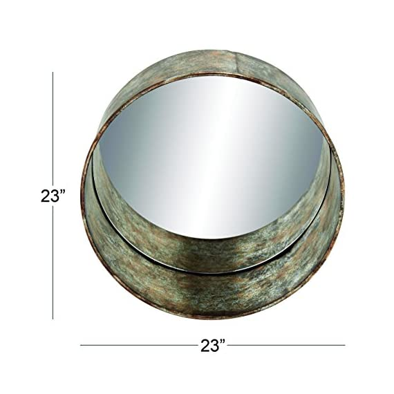 Deco 79 54448 Metal Wall Mirror - Item color: rust, silver Item finish: textured, distressed This product is Made in China - bathroom-mirrors, bathroom-accessories, bathroom - 51976yy2PBL. SS570  -