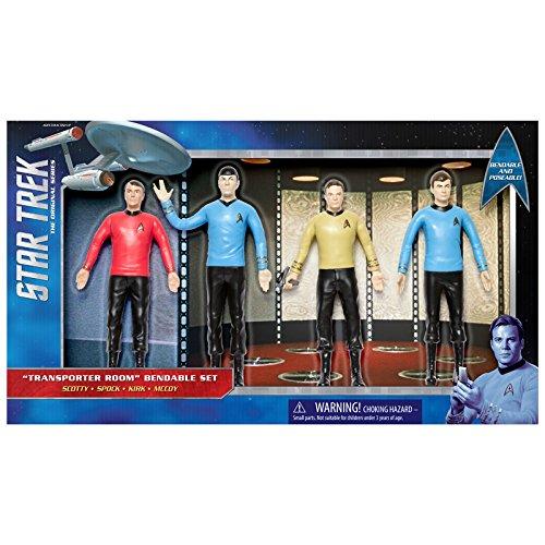 NJ Croce Company Star Trek Transporter Room Bendable Figure Set - Cap Kirk Spock McCoy Scotty, Blue
