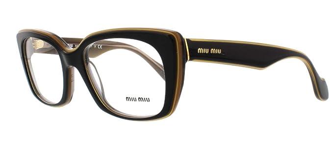 91cc0ef423b1 Amazon.com  Miu Miu MU05LV Eyeglasses-KAY 1O1 Top Black On ...