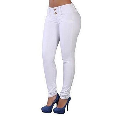 Abetteric Women Stretch High Waist Push-Up Pencil Pants Slim Trousers