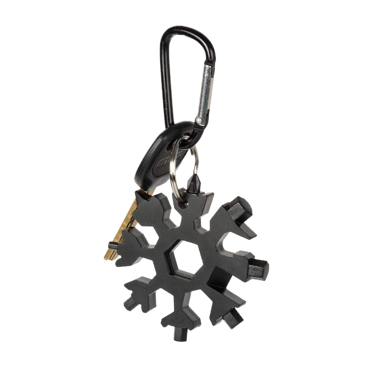 19-in-1 Snowflake Multi-Tool Stainless Steel - 4YOUALL Compact Portable Outdoor Adventure Snowflake Tool Combination Standard/Metric Screwdriver Beer Bottle Opener Hanging Keychain (Black)