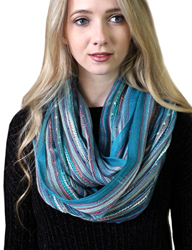 Women's Festival Bliss Shimmer Infinity Scarf, Loop Shawl (Turquoise Bliss) Crochet Neck Scarf