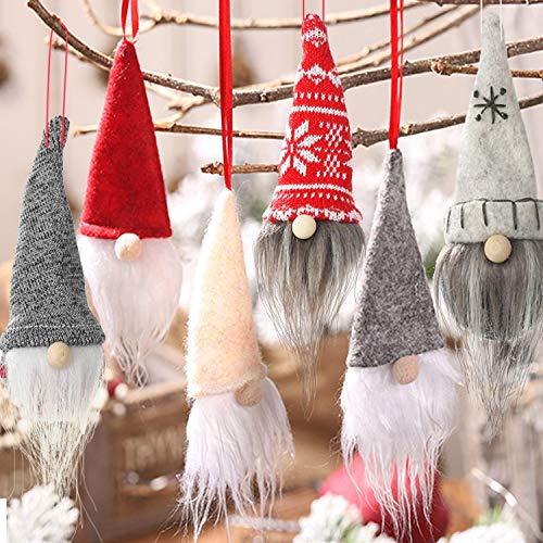 OuMuaMua 6 Pack Gnome Christmas Plush Ornaments Set - Xmas Hanging Decorations Gnome Hat Tomtees Plush Scandinavian Santa Beard Ornaments for Christmas Tree Fireplace Home Decor