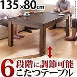 こたつテーブル ダイニングこたつ 長方形 スクット 135x80cm ハイタイプ こたつ本体のみ