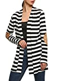 ANGVNS Women Cotton Casual Long Sleeve Jacket Striped Coat Cardigans Outwear (X-Large, Black)