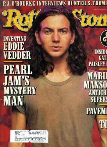 Rolling Stone November 28 1996 #748 Eddie Vedder/Pearl Jam Cover, Marilyn Manson, Pavement, Tool, P.J. O'Rourke Interviews Hunter S. - Jam Stone Rolling Pearl