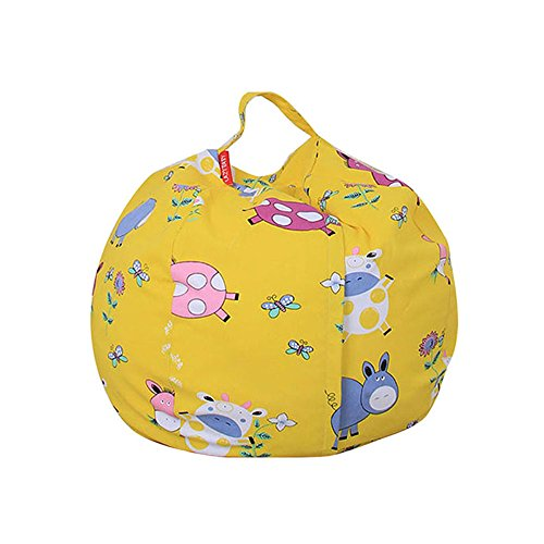 Bean Bag Pigs (Durable Kids Bean Bag Chair Stuffed Animal Storage,Ehonestbuy Cotton Canvas Toy Organizer for Child Bedroom, Storage Solution for Plush Toys, Towels (Cute pig, Diameter 26 Inches))