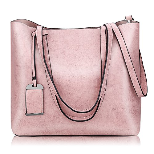 Pink Leather Tote Bag (Women Top Handle Satchel Handbags Shoulder Bag Messenger Tote Bag Purse)