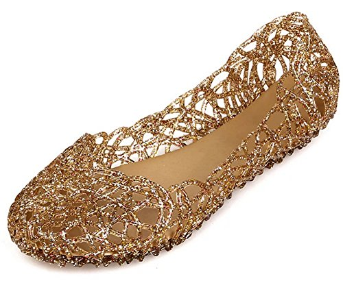 Sketo Women's Bird Nest Layered Lines Jelly Ballet Flats US Size 6.5 Gold
