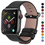 Fullmosa Compatible Apple Watch Band 44mm 42mm 40mm 38mm,Genuine Leather Band Compatible Apple Watch Band, 44mm 42mm Black + Gunmetal Buckle