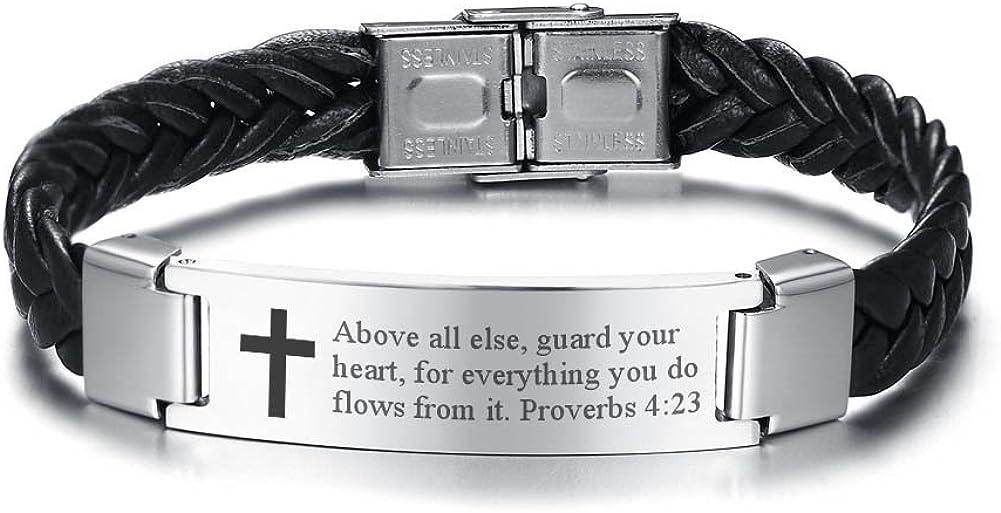 Bijou religieux Bracelet en cuir et acier inoxydable pour homme avec croix et verset de la Bible