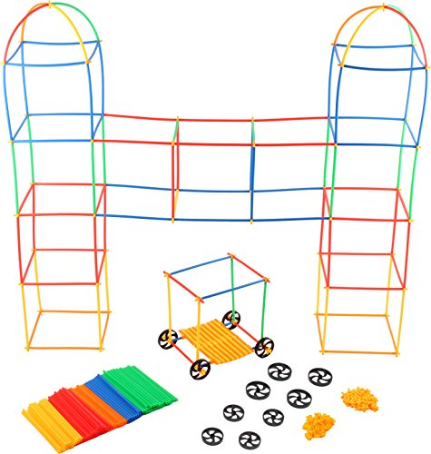 Play22 Building Toys for Kids 400 Set Straws and Connector + Wheels - Colorful and Strong Kids Construction Toys with Special Connectors - Great Gift Building Blocks for Boys and Girls - Original