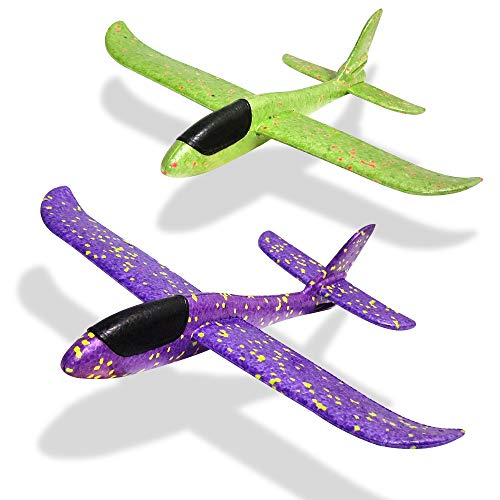 (Foam Airplane Toy Aircraft Glider Hand Throwing Planes Flying Aeroplane Model Outdoor Sports Toys Birthday Party Favor Gift for Kids Dual Flight Mode 14.5