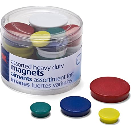 Officemate Assorted Heavy Duty Magnets Circles Assorted Sizes Colors 30 Tub 92501