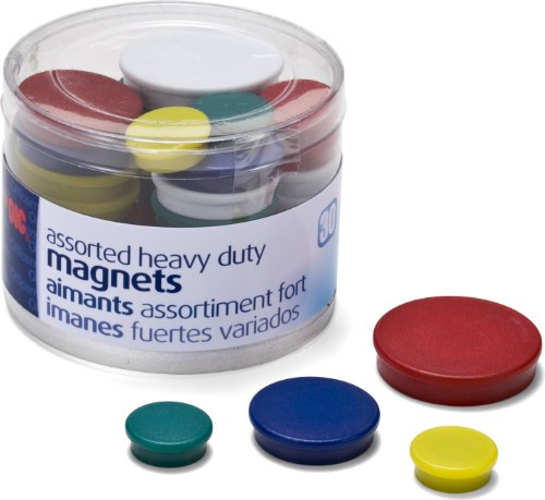 Heavy-Duty Magnets, Circles, Assorted Sizes & Colors, 30/Tub (92501) (Colored Magnets)