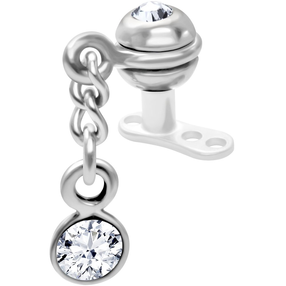 Inset Ball Clear Dangling Dermal Anchor Top Body Candy 39920