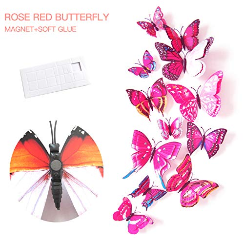 Designed Garden Mixed Well (Mixed of 12PCS 3D Butterfly Wall Stickers Decor Art Decorations (Rose red Butterfly))
