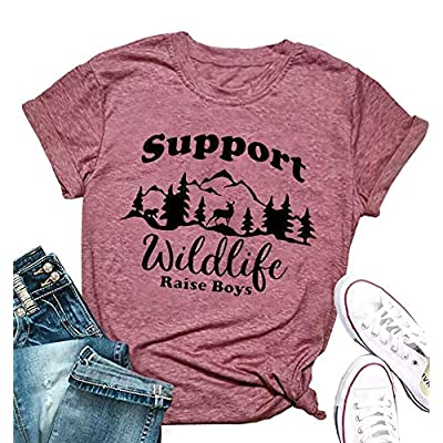 Support Wildlife Raise Boys Mountain Graphic Mom T Shirt Women Letter Print Casual Tees Short Mom Life Tops at Women's Clothing store