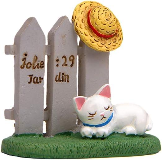 Garneck Miniatura Figura De Gato con Sombrero Durmiendo Valla ...