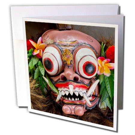[Danita Delimont - Masks - Indonesia, Bali. Barong ceremonial performance mask decorated, - 6 Greeting Cards with envelopes] (Demonic Masks)