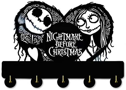 The Nightmare Before Christmas Key Hooks Wood Coat Hooks Unigue Wall Decor Nightmare 1 Key Holder,Key Hanger for Wall、Entryway and Kitchen
