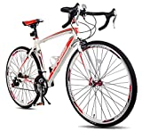 Merax Finiss Aluminum 21 Speed 700C Road Bike Racing Bicycle (Red & White, 52 cm)