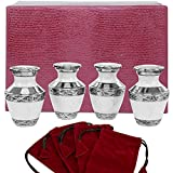 Everlasting Love White Small Keepsake Urns for Human Ashes - Set of 4 - Beautiful and Timeless - Find Comfort with These High Quality Mini Cremation Urns - w Case and 4 Indivdual Velvet Bags