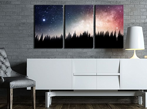 wall26 - 3 Piece Canvas Wall Art - Forest at Night and the Spectacular Galaxy - Modern Home Decor Stretched and Framed Ready to Hang - 16