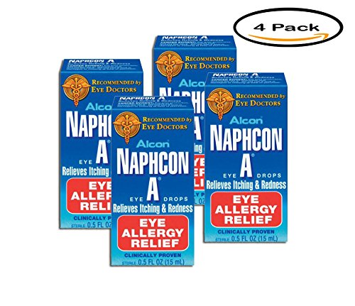 (PACK OF 4 - Alcon Naphcon A Eye Allergy Relief Eye Drops, .5)