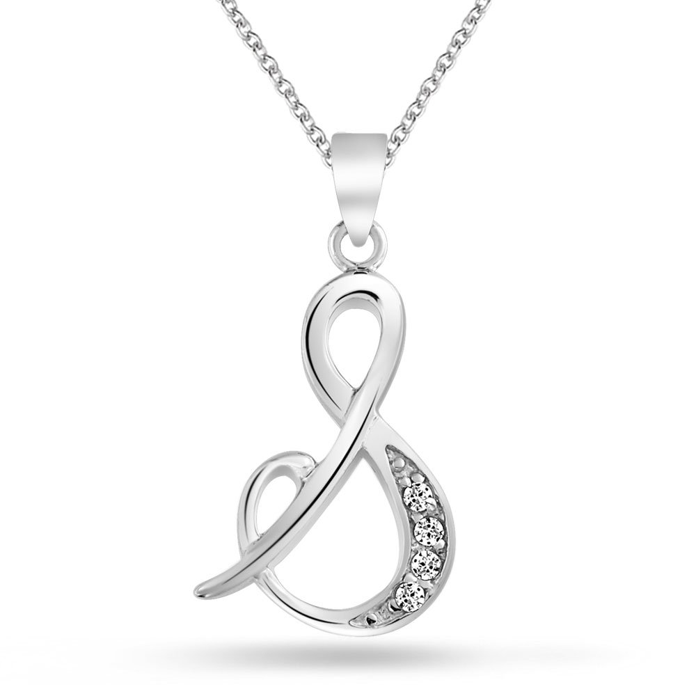 Buy Bling Jewelry 925 Silver Rhodium Plated CZ Cursive Initial Letter S Alphabet Necklace Online At Low Prices In India