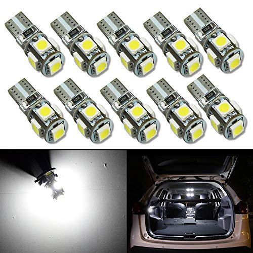HSUN T10 W5W 501 12961 161 168 175 194 2825 LED Bulbs with 800LM Bright SMD3030 for Indicator Light,Dome Reading Light,Side Door Courtesy Lights and More,4 Pack,Red
