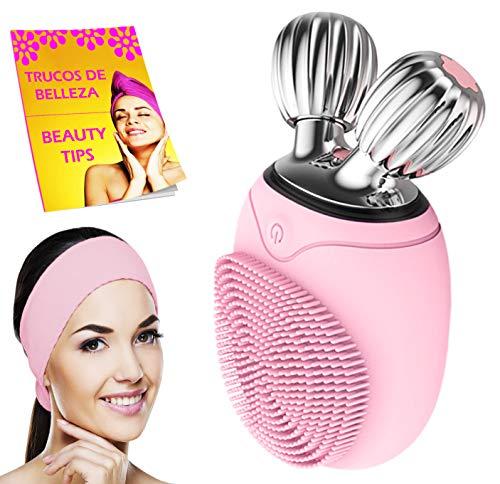 🥇 Limpiador facial electrico con diadema maquillaje y libro cepillo masajeador facial y limpieza facial profunda por vibracion lifting facial V control tiempo uso impermeable IPX6 rosa