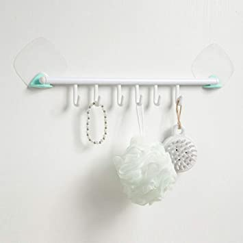 Cosytime Self Adhesive 6 Wall Hooks Rack,Decro Long Plastic Bathroom Door  Hooks Rack,No Damage White Over Sink Space Saver Rack with Hooks for
