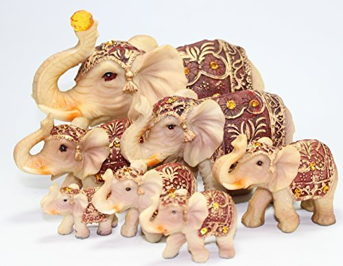 (Feng Shui Set of 7 ~ Vintage Elephant Family Statues Wealth Lucky Figurines Home Decor Housewarming Congratulatory Gift US)