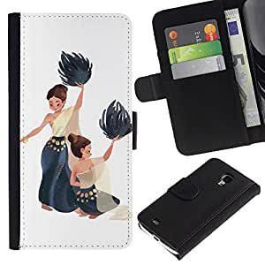 ZCell / Samsung Galaxy S4 Mini i9190 / Dance National Native Women Painting Art / Caso Shell Armor Funda Case Cover Wallet / Danza Nativo Mujeres