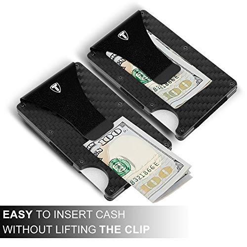 Minimalist Wallet for Men Carbon Fiber Card Holder Money Clip RFID Blocking Slim Front Pocket