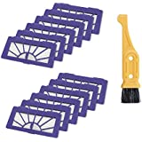 Bonacell Vacuum Cleaner Filter 12 PCs for Neato Robotic Pet and Allergy Filter Pack XV-21 (945-0048) Filter & Free Filter Cleaning Brush Tool