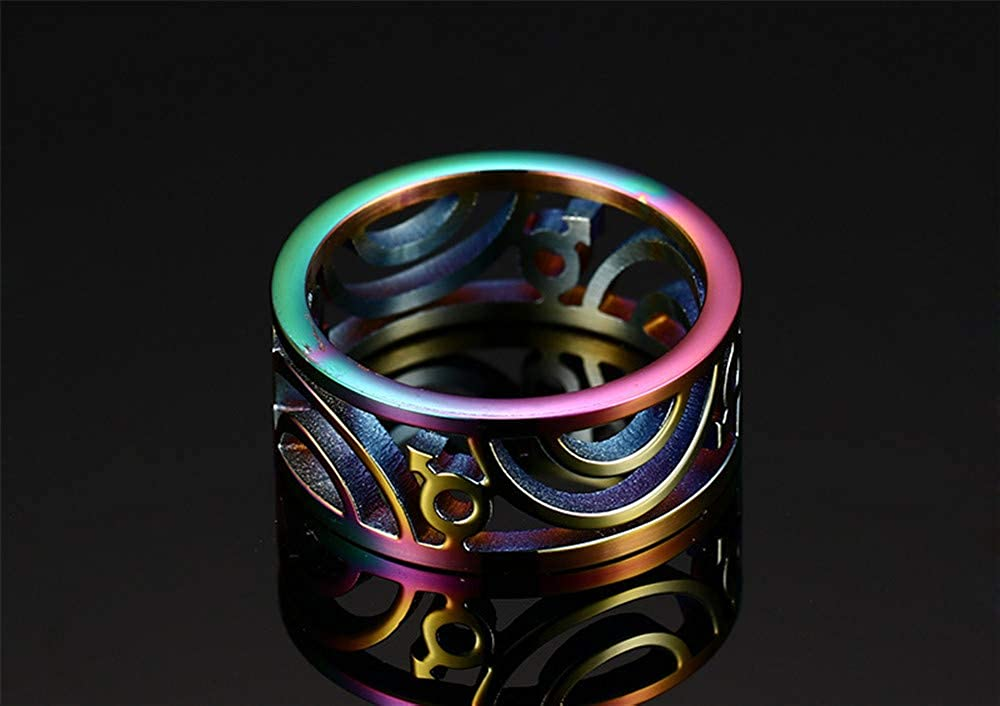 Excow Jewelry Silver Rainbow Hollow Out Stainless Steel Ring Band LGBT Pride Gays /& Lesbian